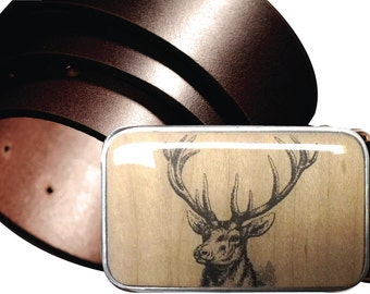 INTERCHANGEABLE belt buckle, DEER magnetic buckle, Wildlife Wooden buckle, Wood belt buckle, mens buckle, DEER buckle, Buck Buckle