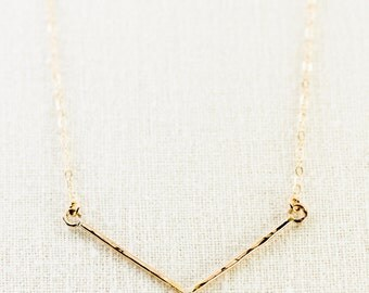 Alohilani necklace - gold chevron necklace, gold bar necklace, delicate V necklace, gold necklace, hawaii necklace, hawaii jewelry, ke aloha