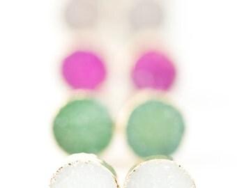 Wehilani earrings - small gold druzy stud earrings, gold druzy post earrings, tiny stud earring, druzy earrings, gold earrings, maui, hawaii
