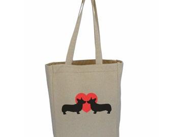 Dog Lover Tote; Corgi Bag, Dachshund Tote, Pug Market Bag