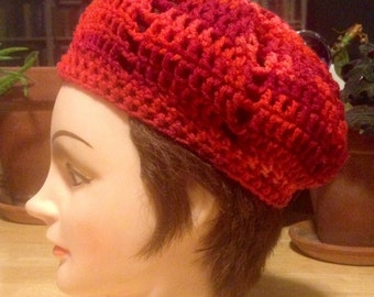 Crocheted Beret Red and Orange