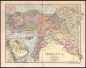 TURKEY Antique Map Turkey in Asia 1903 Dodd Mead Wall Decor Original