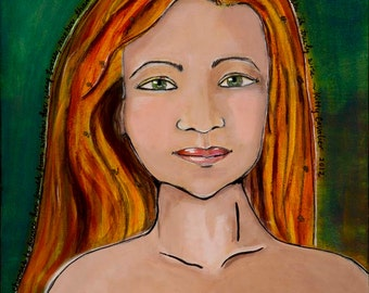Ginger Super Hero, Stand Up, Limited Edition Art Print of Original Painting,