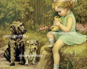 "Little Girl, Baby Duck, and Two Dogs, ""What HAS She Got?"",  RESTORED Print - 1920s Restored Vintage Print  #61"