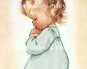 Little Girl Saying Bedtime Prayers, Angelic Little Girl,  Restored Antique Print, Affordable Wall Art #119