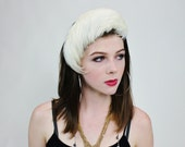 1940s Does 1920s White Feather Swan Lake Bandeau Half Hat Fascinator
