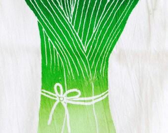 Flour-Sack LEEKS towel - Hand Screen Printed dish towel with green onions