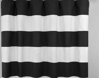 Black White Horizontal Stripe Cabana Curtains - Rod Pocket - 84 96 108 or 120 Long by 24 or 50 Wide - Optional Blackout or Cotton Lining