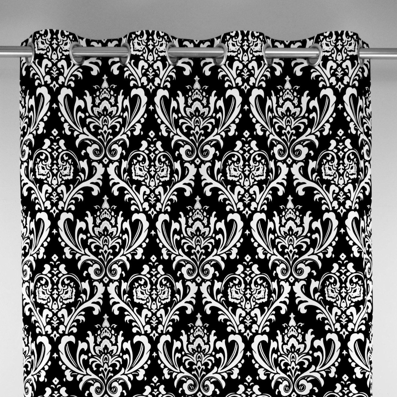 Black White Ozborne Large Damask Curtains Grommet 84 96