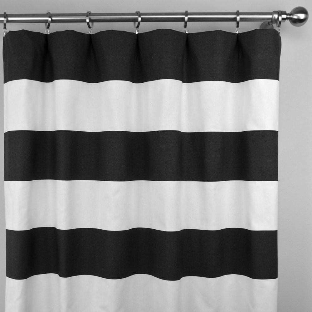 Black White Horizontal Stripe Cabana Curtains Rod Pocket