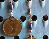 Genuine Coin Earrings, Philippines 25 Centavos, Cents, with Butterfly, Brass