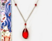 Sailor Mars Ball Gown Inspired Necklace - Glass Crystal