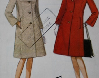 McCall's 8006 1960s Semi Fitted Coat Vintage  Sewing Pattern Bust 31