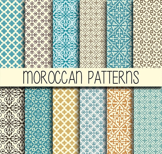Zelliges arabe patterns instant download set de 12 12 for Klebefolie orientalisch