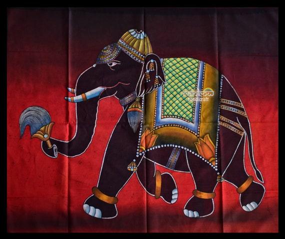 Elephant Batik Coton Wall Hanging Hand Made Tie & Dye