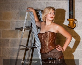 Brown Steampunk Coutil Overbust Corset