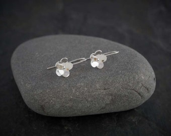 Silver Blossom Flower earrings    PMC Fine Silver Clay Jewellery     Handmade recycled fine silver jewellery