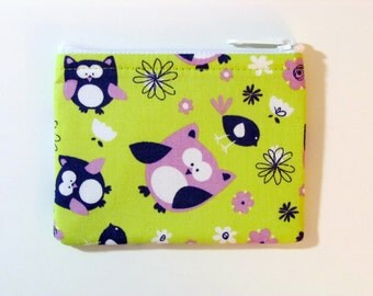 Purple Owls Coin Purse - Coin Bag - Pouch - Accessory - Gift