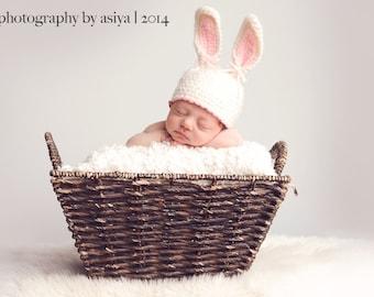 Newborn Bunny Hat,White and Lavender Newborn Bunny Hat, Easter Bunny Hats, Newborn Photo Prop