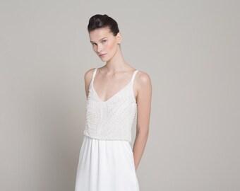 Beach Wedding Dress - Beaded Wedding Dress - Wedding Gown - Custom Wedding Dress