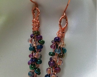 Kumihimo Copper Wire Wrapped Jewelry Czech Seed Bead Earrings