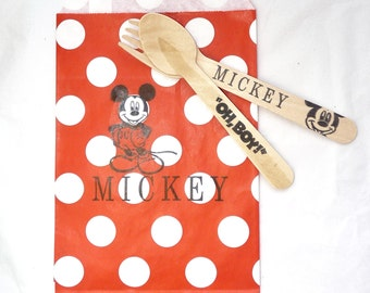 MICKEY MOUSE Party for 10 - Hand Stamped Wood Utensils & Favor Bags, Disney Cruise FE Cookie Favor Treat Bags, Candy Buffet, Cookies, Favors