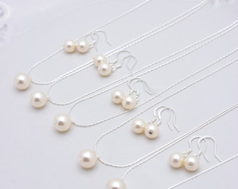 Set of 5 Bridesmaid Ivory Pearl Sets, 5 Ivory Pearl Necklaces and Earrings, Sterling Silver Bridesmaid Pearl Sets 0158