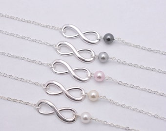Set of 3 Bridesmaid Infinity Bracelets, 3 Infinity and Pearl Bracelets, Sterling Silver Infinity Charm 0217
