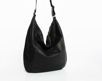 Black leather hobo bag - leather purse - women bags SALE black leather bag - leather shoulder bag - crossbody bag - slouch bag handmade bag