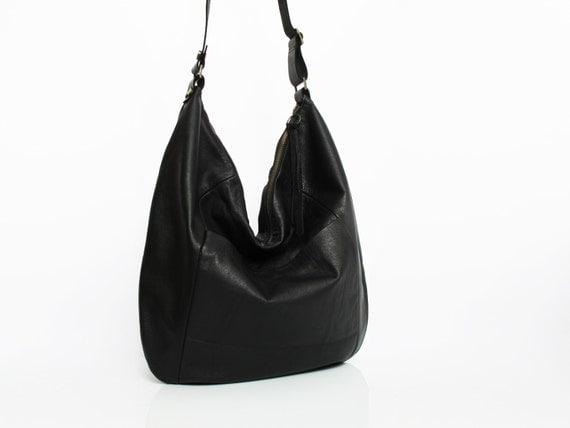 Black leather hobo bag leather purse women bags SALE black