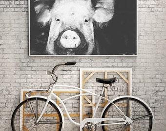 Pig Photography Print,Pig Wall Art,Black and White Pig Print,Pig Nursery Wall Art,Kids Bedroom Art,Playroom Print,AnimalPhotography