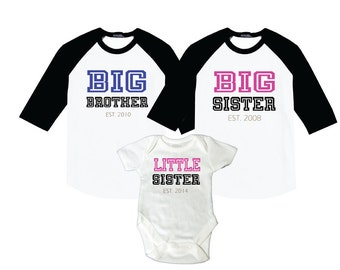 Big Sister, Big Brother, Little Sister Collegiate Style Raglan Shirts