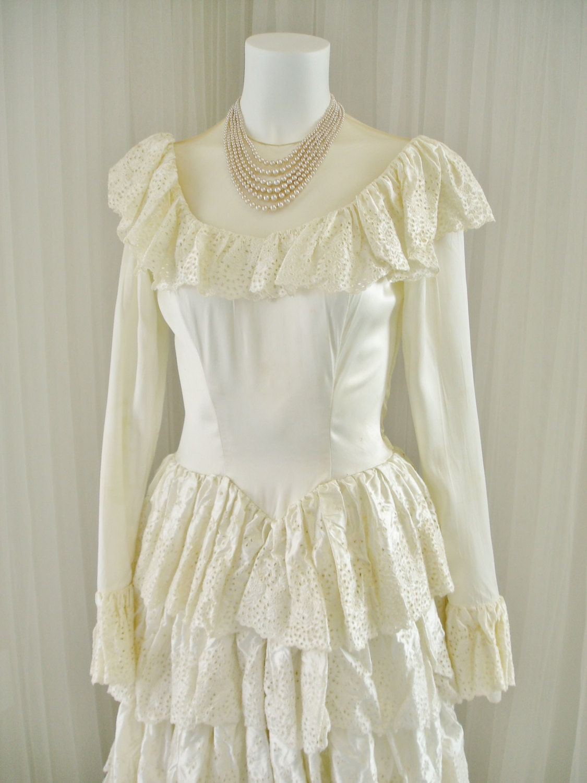 Vintage Satin 1940 s Bridal Ball Gown Wedding Dress