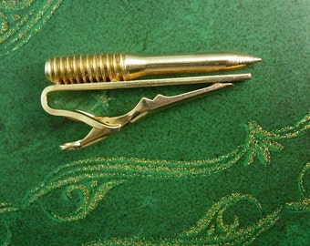unusual vintage screw tie clasp punch point with cap tool for handyman carpenter or as a gift for him