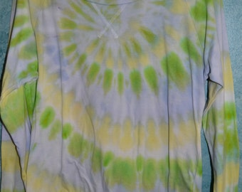 Upcycled Juniors' SIZE M Long-sleeved Tie-Dye T-shirt in White, Yellow, Lime, & Blue Pastels Classic Spiral Pattern