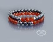 Wrist mala beads Prosperity bracelet Red carnelian bracelet mala Hematite bracelet Mens beaded bracelet set w Sterling silver beads Buddhist