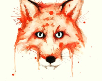 Drippy Fox Fine Art Print