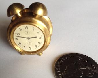 Brass Miniature Dollhouse figurine furniture collectable - Alarm Clock