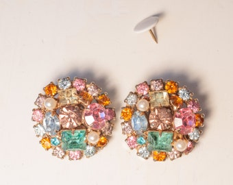 Colorful Vintage Clip Earrings Mid-Century Mid Century