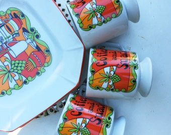 Adorable Peter Max Inspired 60s Coffee and Snack Set