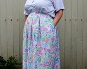 Plus Size - Vintage Pastel Print Pleated Front Midi Skirt (Size 22W)