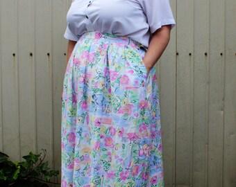 Plus Size - Vintage Pastel Print Pleated Front Midi Skirt (Size 22W)