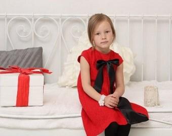 Girls Christmas dress Girls red dress Girls pleated dress Cap sleeve dress Girls A line dress Cotton dress Autumn dress Birthday party dress