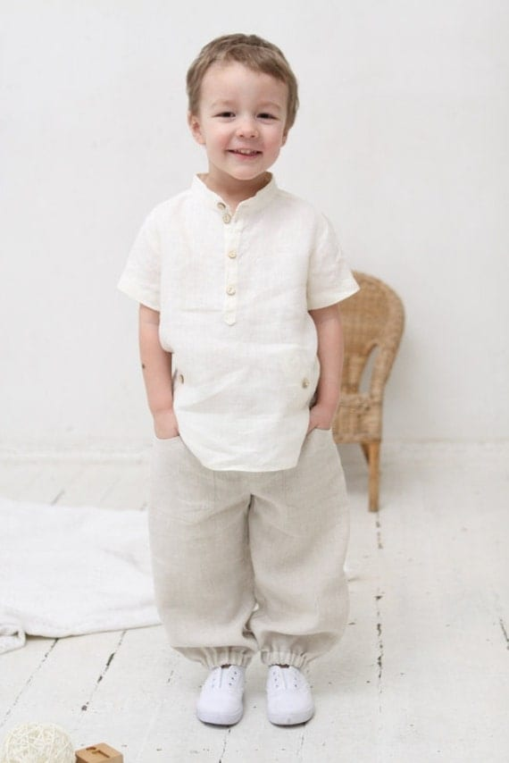 Boys Natural Linen Shirt Toddler Boy Short Sleeve Shirt