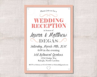 Wedding Reception, Celebration, After Party Invitation Custom Printable 5x7
