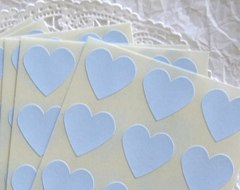 Large SKY BLUE Heart Stickers, Sticker Seals, 6 COLORS