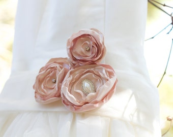 Wedding sash belt bridesmaids maternity sash fabric flower blush pink rhinestones pearls brooch photo prop bling couture sash glamour sash