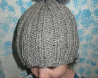 Grey Wool Pompom Hat - baby to small child