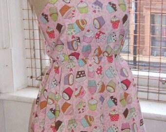 Baylis & Knight Pink Cupcake Mini Short SUN Dress Cute Retro Vintage Pinafore Festival Tea Dress Mary Berry Baking Cake
