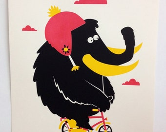 Wooly Mammoth on a Bike - Screenprint
